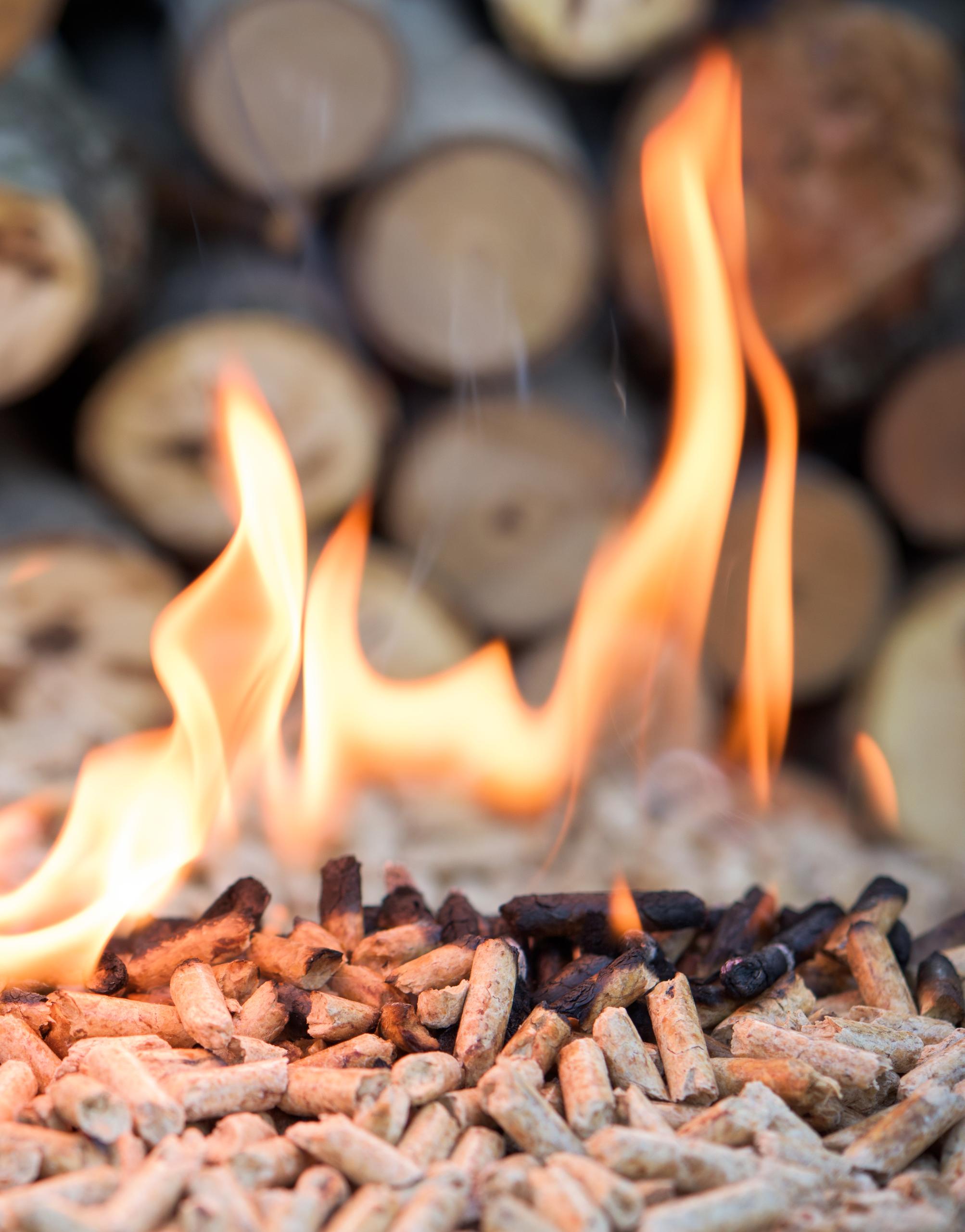 Houtpellets met vuur1